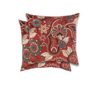 18 in. Cliveden Chili Square Outdoor Throw Pillow (2-Pack)