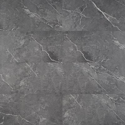 Marble Dark Gray 12 in. x 24 in. Waterproof Rigid Core Click-Lock Luxury Vinyl Tile Flooring (28.04 sq. ft. / case)
