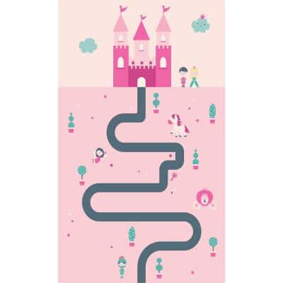Decorative Pink Castle Laminated Kids Mat 20 in x 34 in