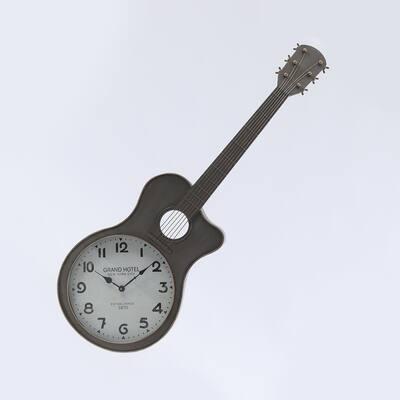 Grey Metal Guitar Wall Clock