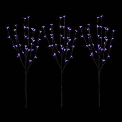 30 in. Blue LED Lighted Cherry Blossom Branches (Set of 3)
