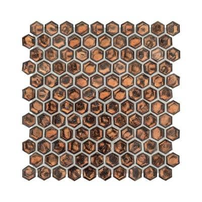 Taj-Mahive Brown 10.875 in. x 11.375 in. Hexagon Glossy Glass Mosaic Tile (0.859 sq. ft./Each)
