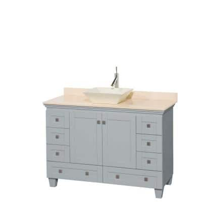 Acclaim 48 in. W x 22 in. D Vanity in Oyster Gray with Marble Vanity Top in Ivory with Bone Basin