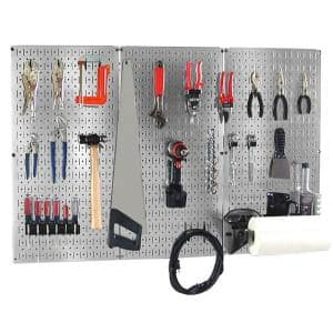32 in. x 48 in. Shiny Metallic Galvanized Steel Pegboard Basic Tool Organizer Kit with Black Accessories
