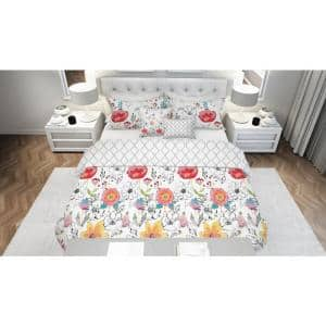 Lillie Floral Multi-Colored 5-Piece Reversible Ultra-Soft Microfiber Full/Queen Comforter Set