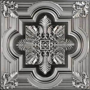 Large Snowflake 2 ft. x 2 ft. PVC Lay-in or Glue-up Ceiling Panel in Antique Silver (100 sq. ft. / case)