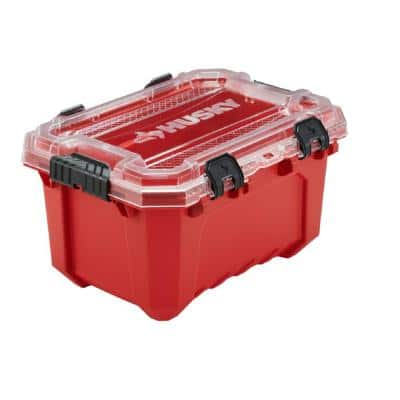 5-Gal. Professional Duty Waterproof Storage Container with Hinged Lid in Red