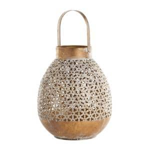 Gold Metal Eclectic Candle Lantern