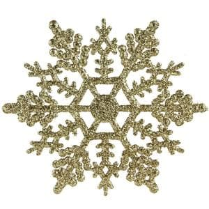 Gold Glamour Glitter Snowflake Christmas Ornaments (Pack of 24)