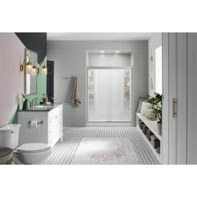 STORE+ 30 in. x 60 in. Single Threshold Left-Hand Shower Base with Shower Walls and 12-Piece Accessory Kit in White