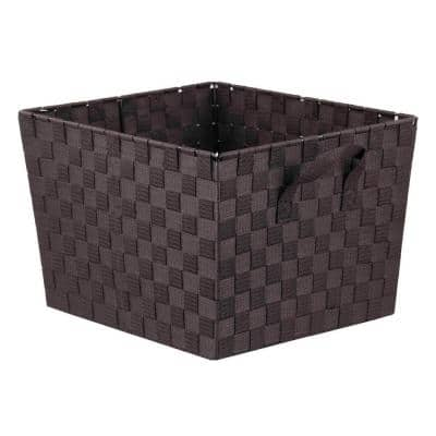 10 in. H x 13 in. W x 15 in. D Brown Fabric Cube Storage Bin