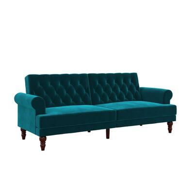 Cassidy Green Velvet Upholstered Futon