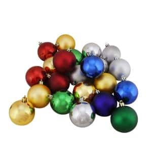 Shatterproof Traditional Multi-Color Shiny and Matte Christmas Ball Ornaments (24-Count)