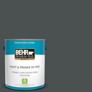 Behr Premium Plus 1 Gal Ppu26 01 Satin Black Satin Enamel Low Odor Interior Paint And Primer In One 730001 The Home Depot