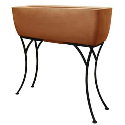 30 in. x 10 in. Terra Cotta Elevated Planter with Stand