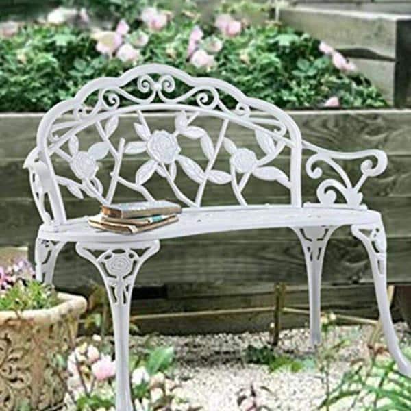 White Rose Pattern Metal Garden Bench, White Metal Garden Bench