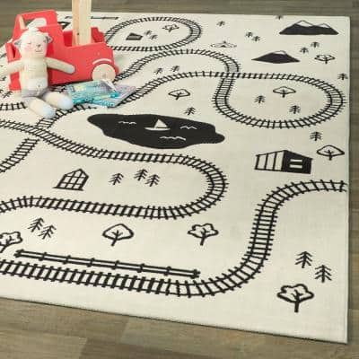 Train Town Cream 5 ft. x 7 ft. Kids Area Rug