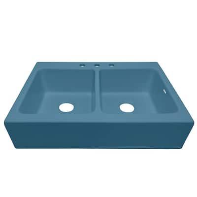 Josephine Oceanside Matte Blue Fireclay 33.85 in. 3-Hole Double Bowl Quick-Fit Drop-In Farmhouse Kitchen Sink