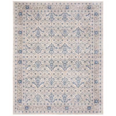 Brentwood Light Gray/Blue 8 ft. x 10 ft. Geometric Floral Border Area Rug