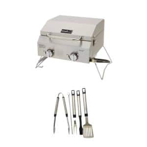 2-Burner Portable Propane Gas Table Top Grill in Stainless Steel Plus Tool Set