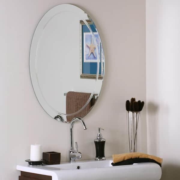 Decor Wonderland 24 In W X 32 H, Vanity Mirror Frameless Oval