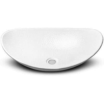 19 in. Hand Hammered Harbor Vessel Bathroom Sink in Classic White