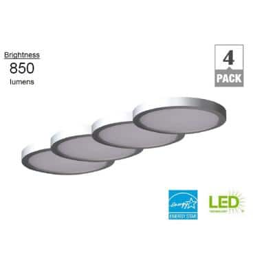 7 in. Round Nickel LED Flush Mount (4-Pack)