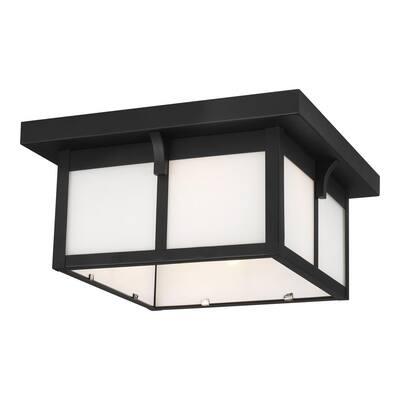 Tomek 2 -Light Black Outdoor Urban Craftsman Flush Mount Light
