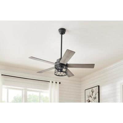 North Grove 52 in. Indoor LED Matte Black Dry Rated Ceiling Fan with 5 Reversible Blades, Light Kit and Remote Control