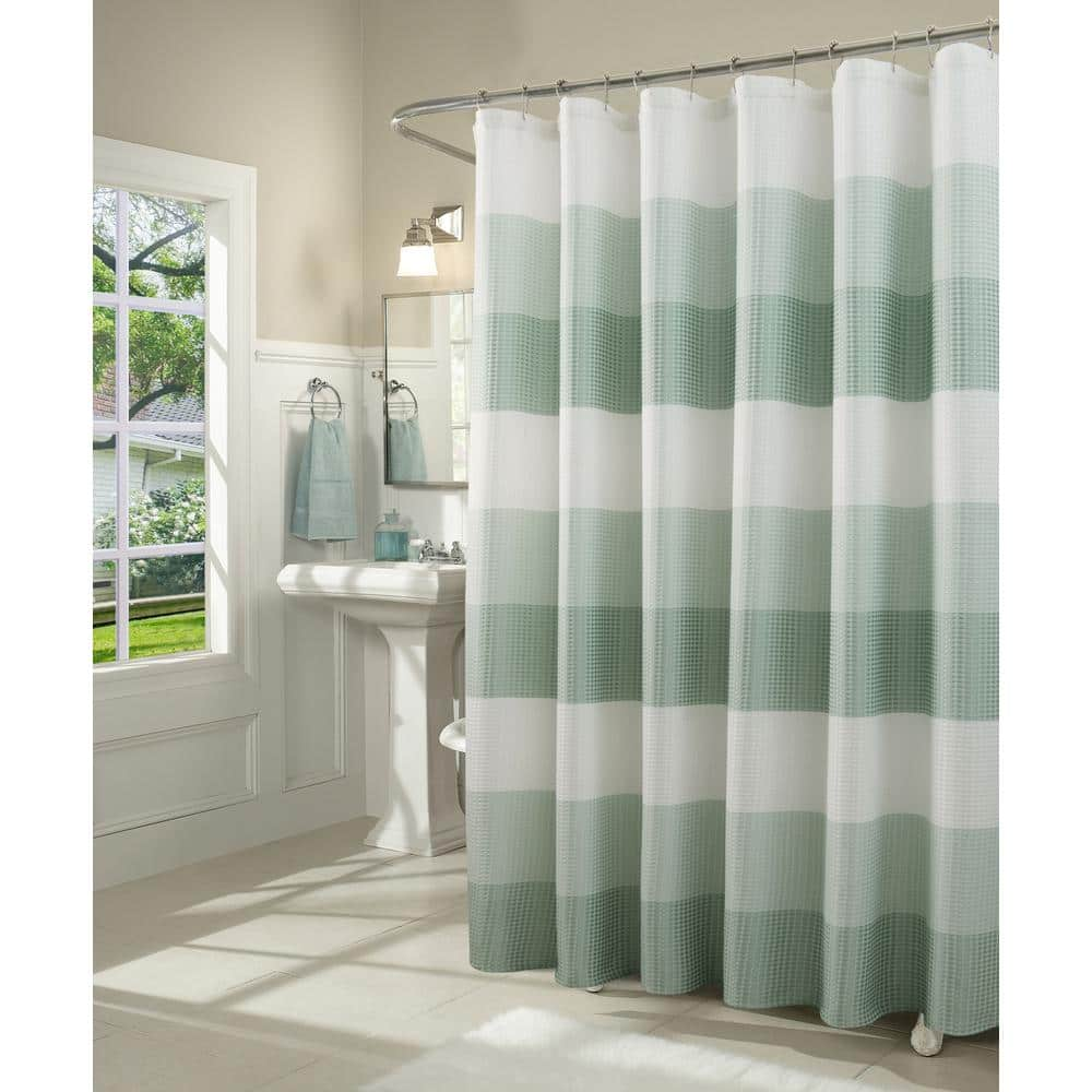 Dainty Home Ombre 72 In Spa Waffle Weave Fabric Shower Curtain Omwscspa The Home Depot