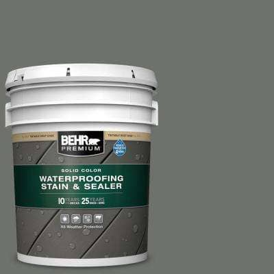 5 gal. #SC-131 Pewter Solid Color Waterproofing Exterior Wood Stain and Sealer