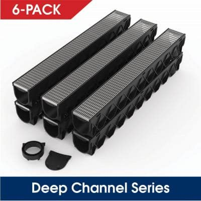 Storm Drain Series 5 in. W x 5.25 in. D x 39.4 in. L Channel Drain Kit with Architectural 316 Stainless Steel (6-Pack)