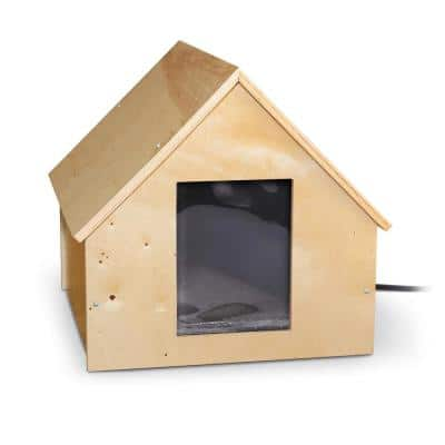 Natural Wood 25-Watt Birchwood Manor Thermo-Kitty Home (Heated) - 18 in. x 16 in. x 15 in.
