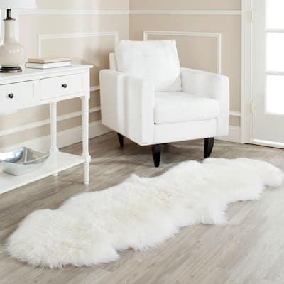 Sheep Skin White 2 ft. x 6 ft. Solid Gradient Runner Rug