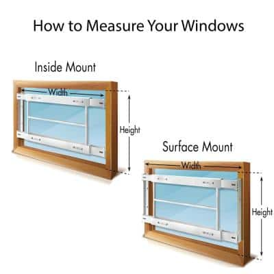 Removable 29 in. to 42 in. Adjustable Width 8-Bar Window Guard, White