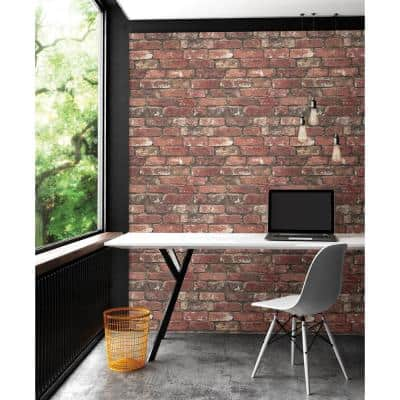 Loft Red Brick Paper Non-Pasted Wallpaper Roll (Covers 56.4 Sq. Ft.)