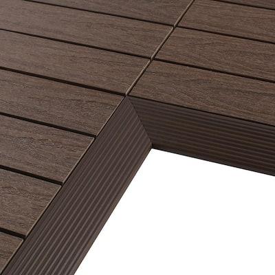 1/6 ft. x 1 ft. Quick Deck Composite Deck Tile Inside Corner Fascia in Spanish Walnut (2-Pieces/Box)