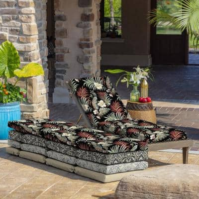 21 in. x 29.5 in. Outdoor Chaise Lounge Cushion in Black Simone Tropical