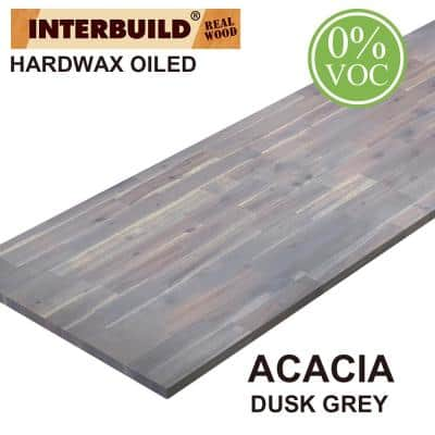 Acacia 6 ft. L x 25 in. D x 1 in. T Butcher Block Countertop in Dusk Grey Wood Oil Stain