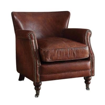 Dark Brown with Nail head Trim Leather Upholstered Accent Chair