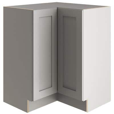 Edson Shaker Assembled 27.7 in. x 34.49 in. x 27.7 in. Lazy Susan Corner Base Cabinet in Gray
