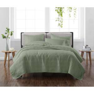 Solid Green Full/Queen 3-Piece Quilt Set