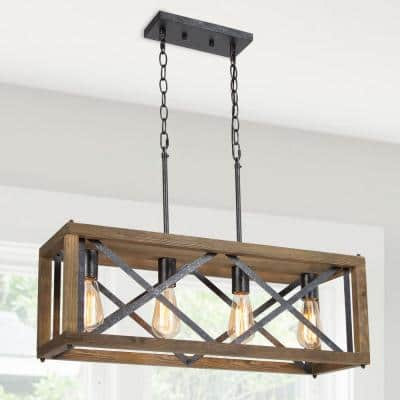Farmhouse Wood Cage Black Island Chandelier 4-Light Brown Modern Industrial Ceiling Light for Kitchen Dining Room