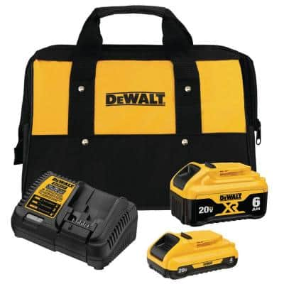 20-Volt MAX XR Premium Lithium-Ion Starter Kit 6.0Ah Battery Pack, 4.0Ah Battery Pack, Charger and Kit Bag