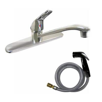 Dominion Single-Handle Standard Kitchen Faucet with Side Sprayer in Chrome