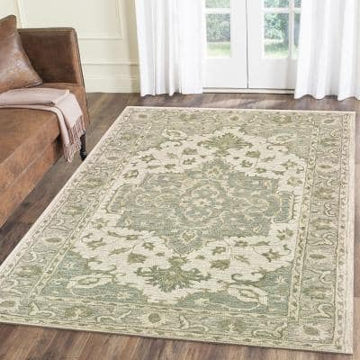 Parampara Classic Medallion Sea Green / Gray 5 ft. x 8 ft. Indoor Area Rug
