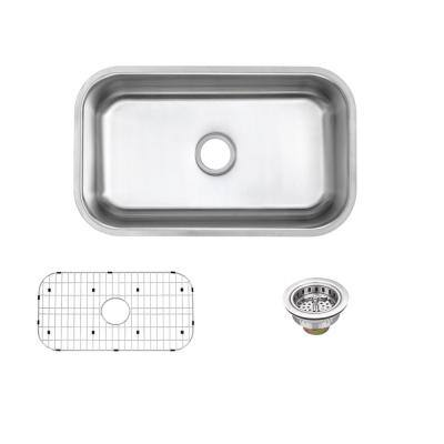 Undermount 18-Gauge Stainless Steel 30 in. 0-Hole Single Bowl Kitchen Sink with Grid and Drain Assembly