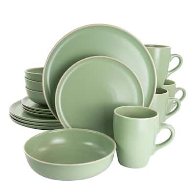 Serenade 16-Piece Green Round Stoneware Dinnerware Set