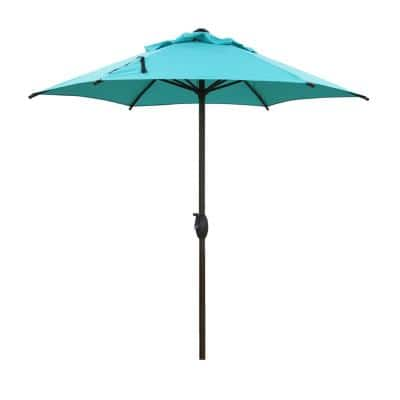 7-1/2 ft. Round Outdoor Market with Push Button Tilt and Crank Lift Patio Umbrella in Turquoise