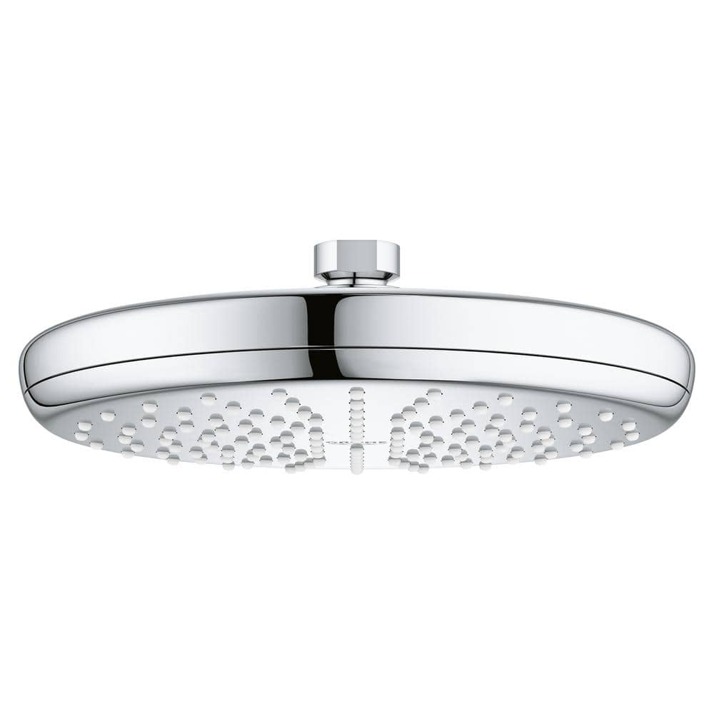 Grohe Tempesta 1 Spray 8 3 In Single Wall Mount Fixed Rain Shower Head In Brushed Nickel 26410000 The Home Depot